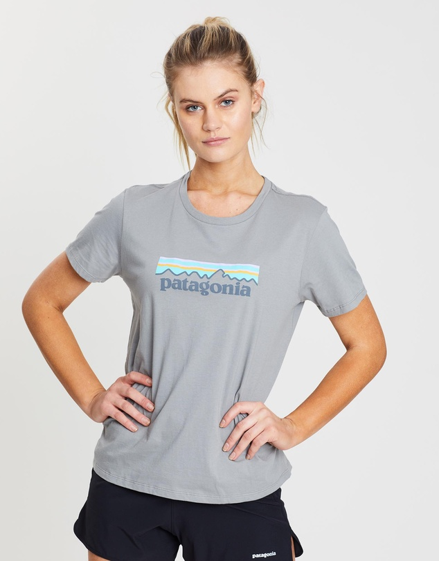 Patagonia Womens Pastel P-6 Logo Cotton T-Shirt Feather Grey SALE