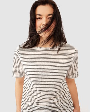 Ceres Life Linen Weekend Tee - T-Shirts & Singlets (White & Black Stripe)