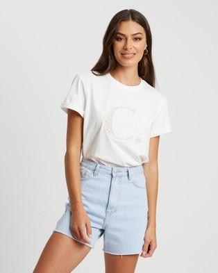 Calli Floral Tee - T-Shirts & Singlets (White & White Logo)