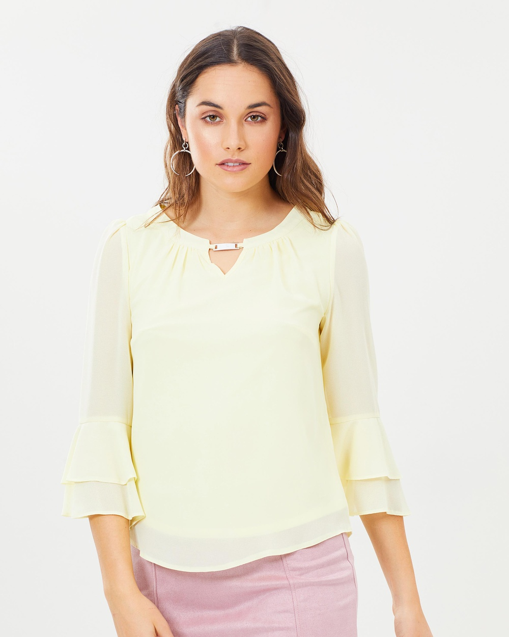 Dorothy Perkins Trim Sleeve Blouse Tops Lemon Trim Sleeve Blouse