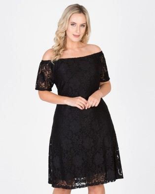 Love Your Wardrobe – Elsa Stretch Lace Off The Shoulder Dress Black