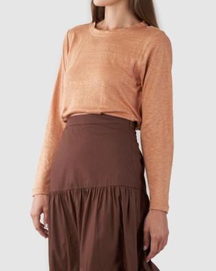 Amelius Priya Long Sleve Linen T Shirt - Long Sleeve T-Shirts (Rust)