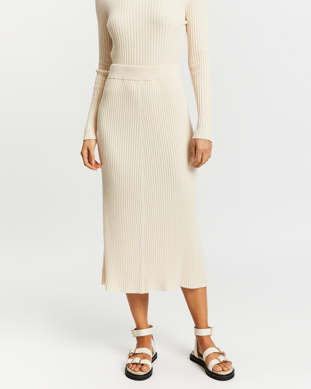 AERE Knitted A Line Skirt Skirts Birch A-Line