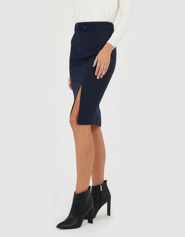 Women Tina Belted Pinstripe Skirt