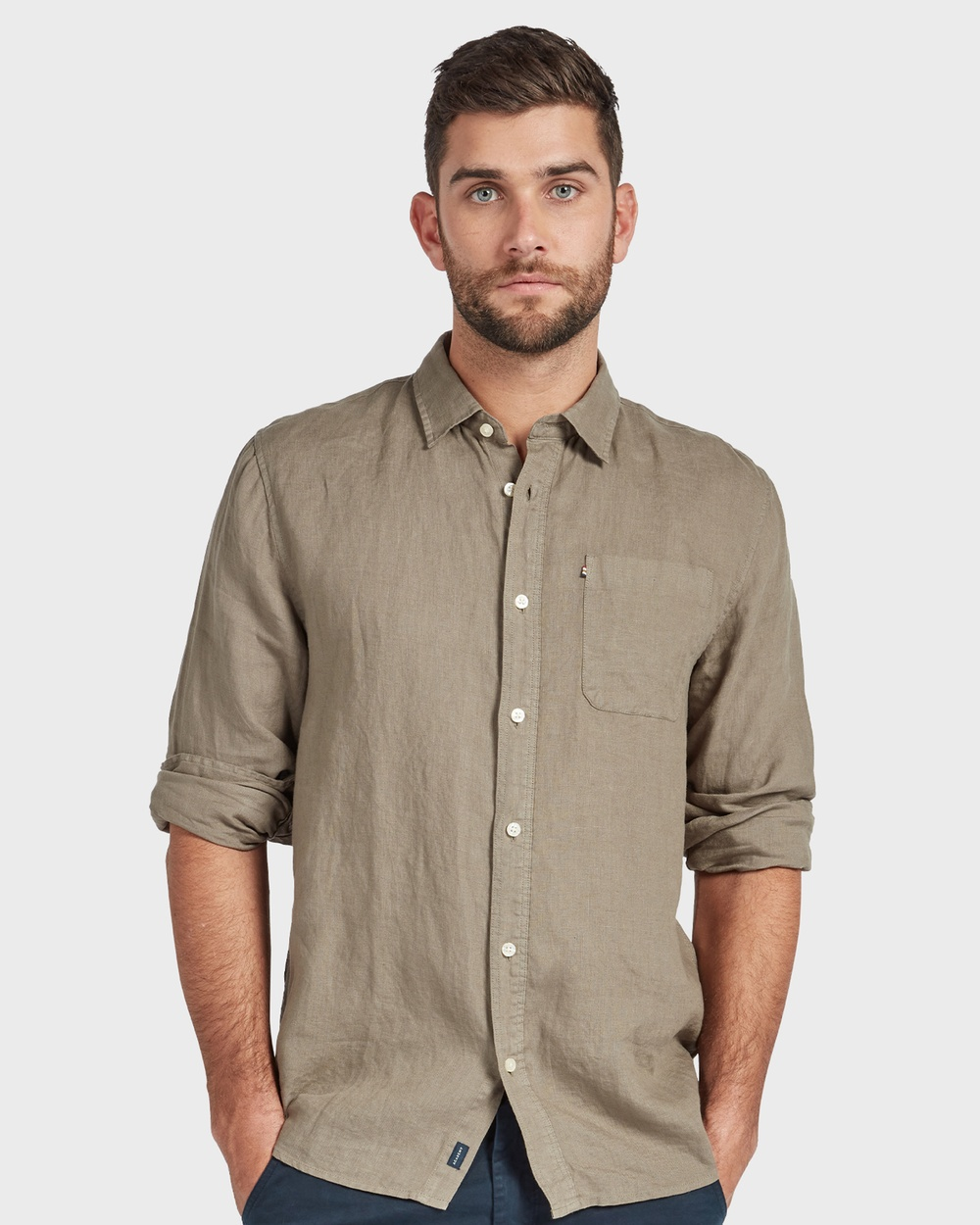 Academy Brand Hampton L S Linen Shirt Shirts & Polos Green L-S