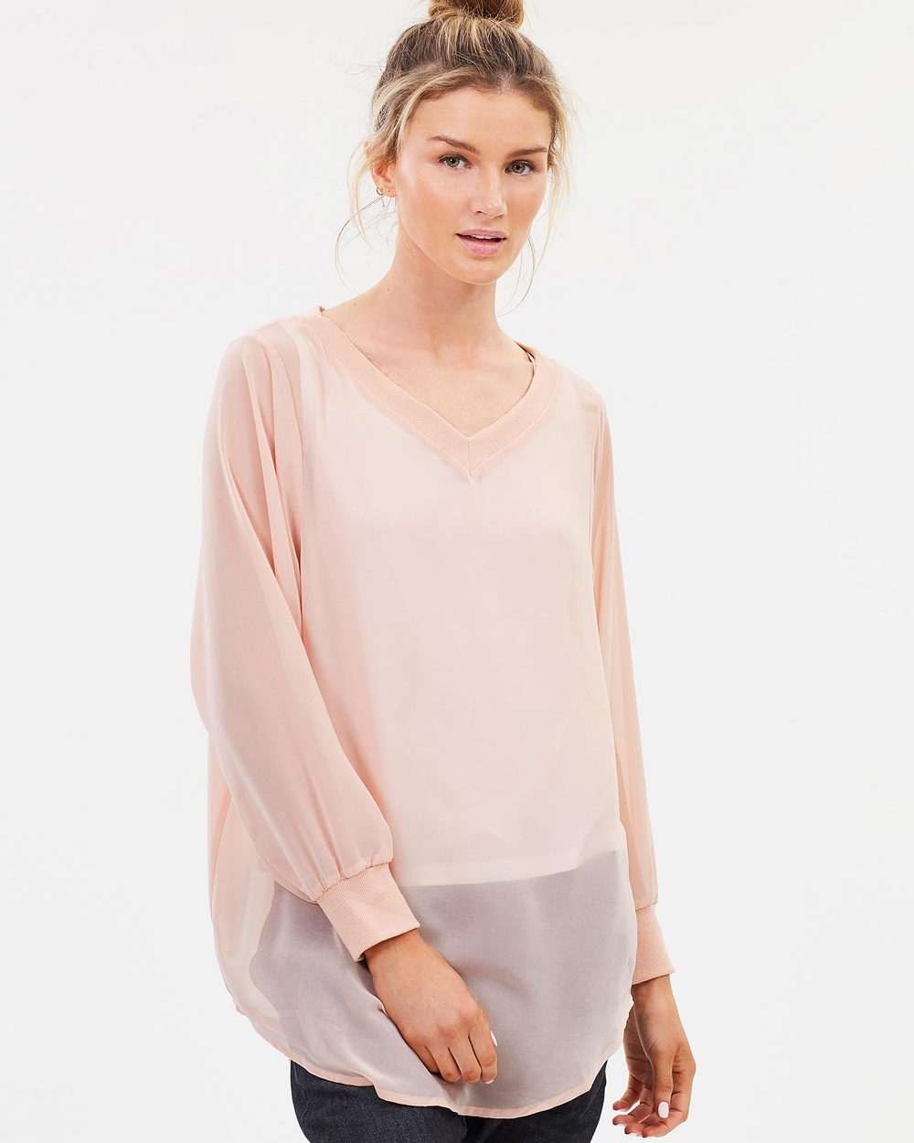 Lincoln St The Sheer 2 Way Pullover Tops Blush The Sheer 2-Way Pullover
