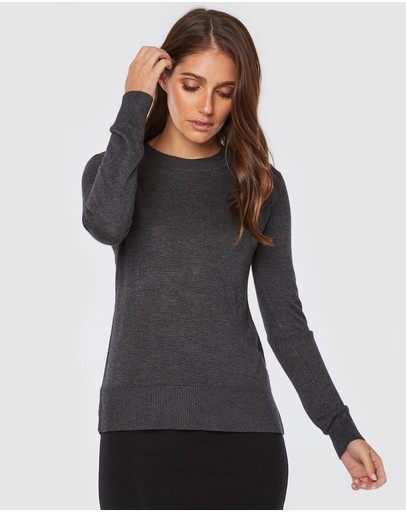 Bamboo Body Crew Neck Knit Charcoal
