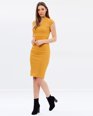 Dorothy Perkins – Ochre Short Sleeve Pencil Dress – Dresses (Ochre)