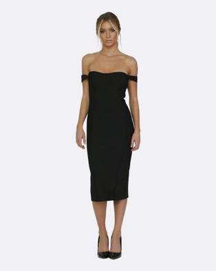 Honey Couture – Becky Black Off Shoulder Bustier Bandage Dress – Bodycon Dresses Black