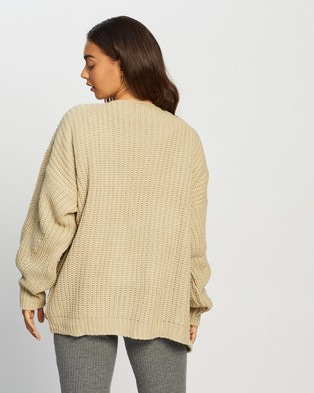 Missguided Batwing Oversized Cardigan - Jumpers & Cardigans (Stone)