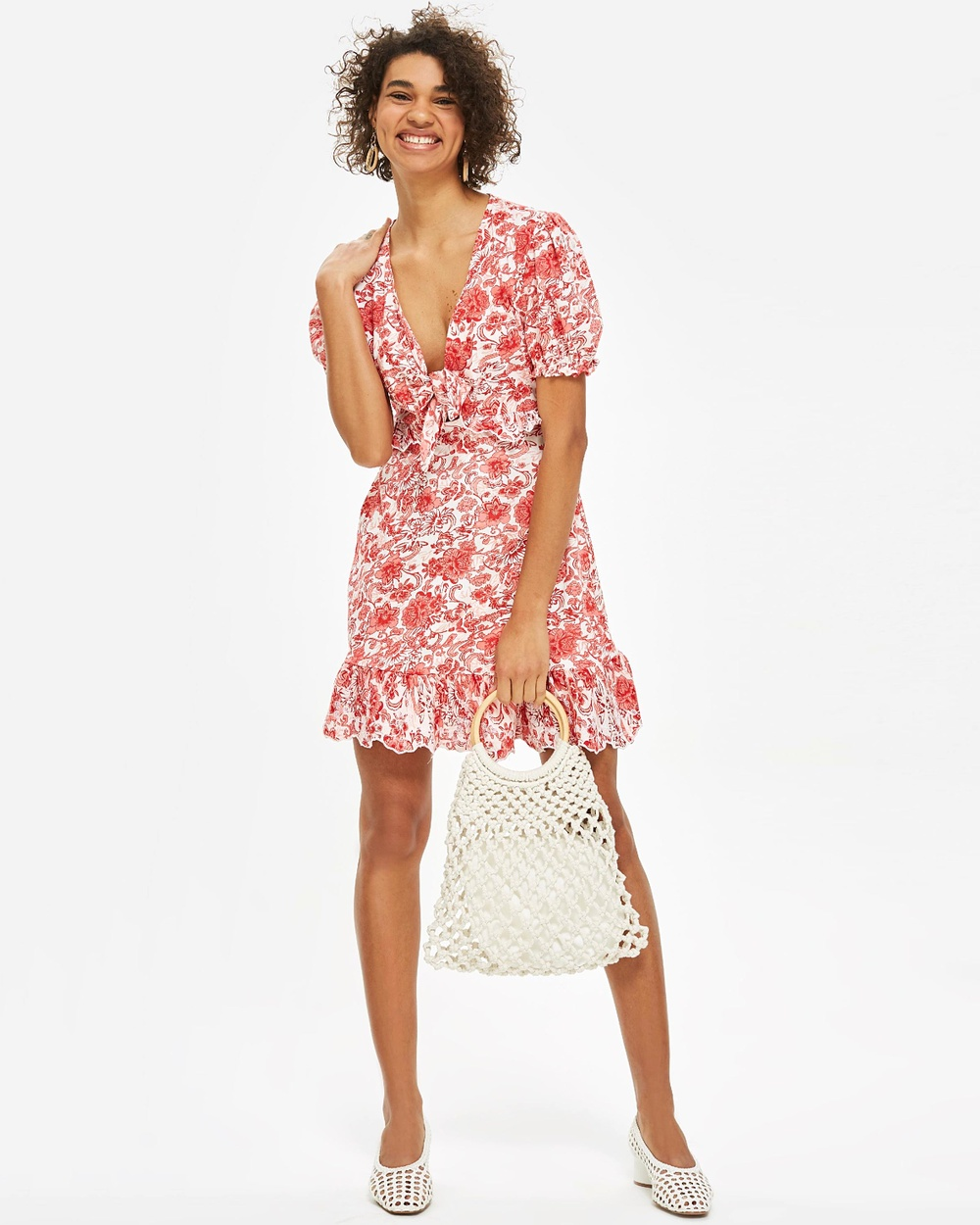 TOPSHOP Embroidered Tie Front T Shirt Mini Dress Dresses Pink Embroidered Tie Front T-Shirt Mini Dress