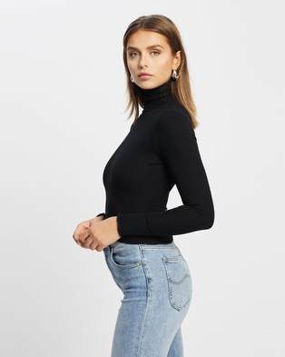 Atmos&Here Rima Rib Turtle Neck Jumper Cropped tops Black