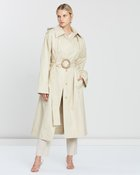 Carbon Hooded Cotton Gabardine Trench Coat