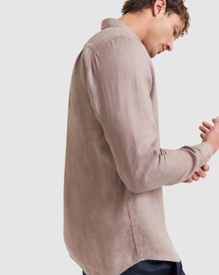 SABA Anderson Long Sleeve Classic Linen Shirt - Casual shirts (brown)