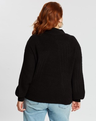 Mika Muse Front Runner Balloon Sleeve Knit - Jumpers & Cardigans (Black)