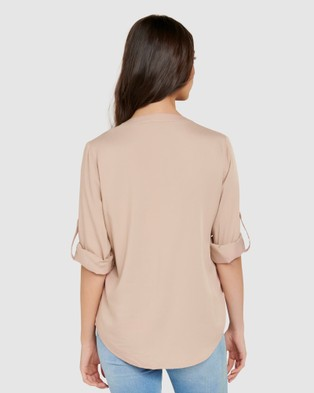 Forever New Josie Long Sleeve Utility Shirt - Tops (Spiced Camel)