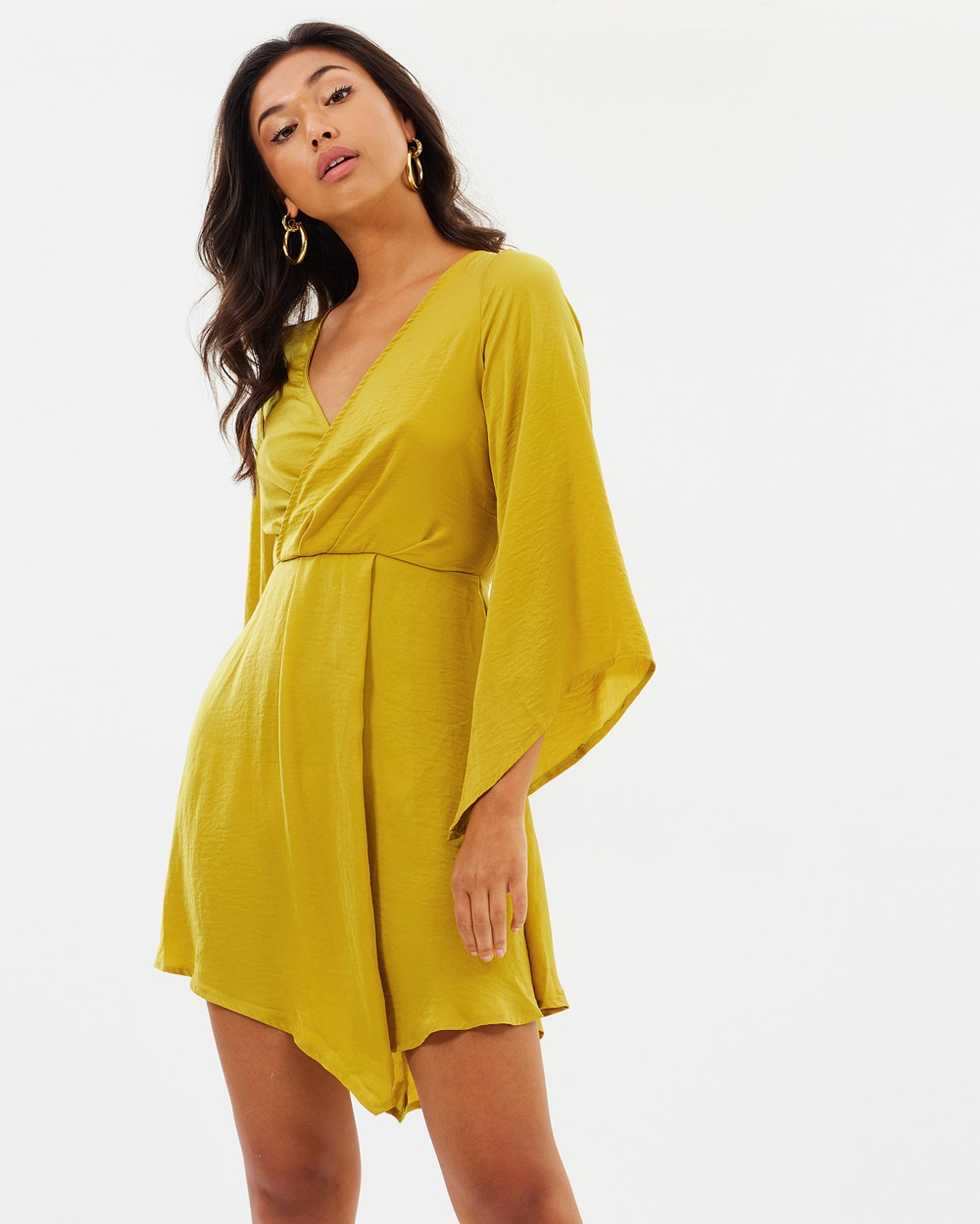 Missguided Satin Plunge Neck Layered Front Long Sleeve Mini Dress Dresses Chartreuse Satin Plunge Neck Layered Front Long Sleeve Mini Dress