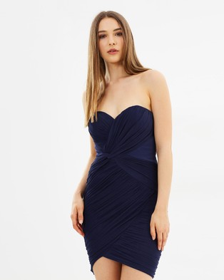 Lipsy – Ruched Bandeau Dress – Bodycon Dresses Navy