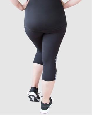 Curvy Chic Sports Mesh Sculpt Tights - 3/4 Tights (Black Print)
