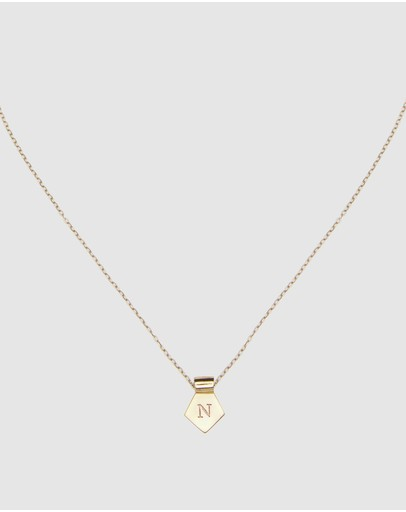 Ca Jewellery Letter N Pendant Necklace Gold