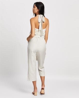 ARIS Halter Linen Jumpsuit - Jumpsuits & Playsuits (Stone)