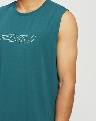 2XU CONTENDER Tank - Muscle Tops (Dark Sage/White)