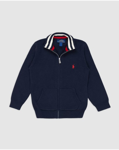 Polo Ralph Lauren - Long Sleeve Full-Zip Cotton Sweater - Kids