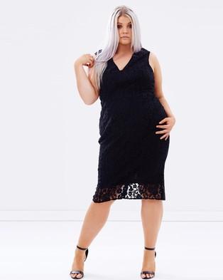 Lost Ink Plus – Lace Pencil Dress – Dresses (Black)