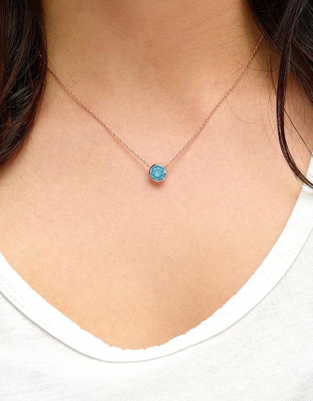 Women Aquamarine Crystal Necklace