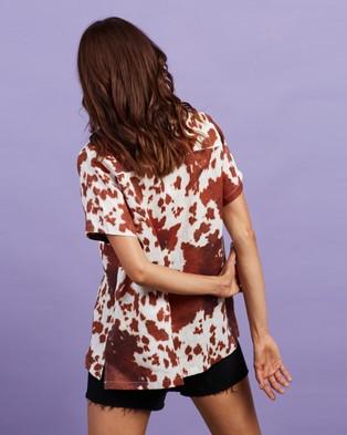 Cools Club Safari Shirt - Tops (Cow Print Linen)