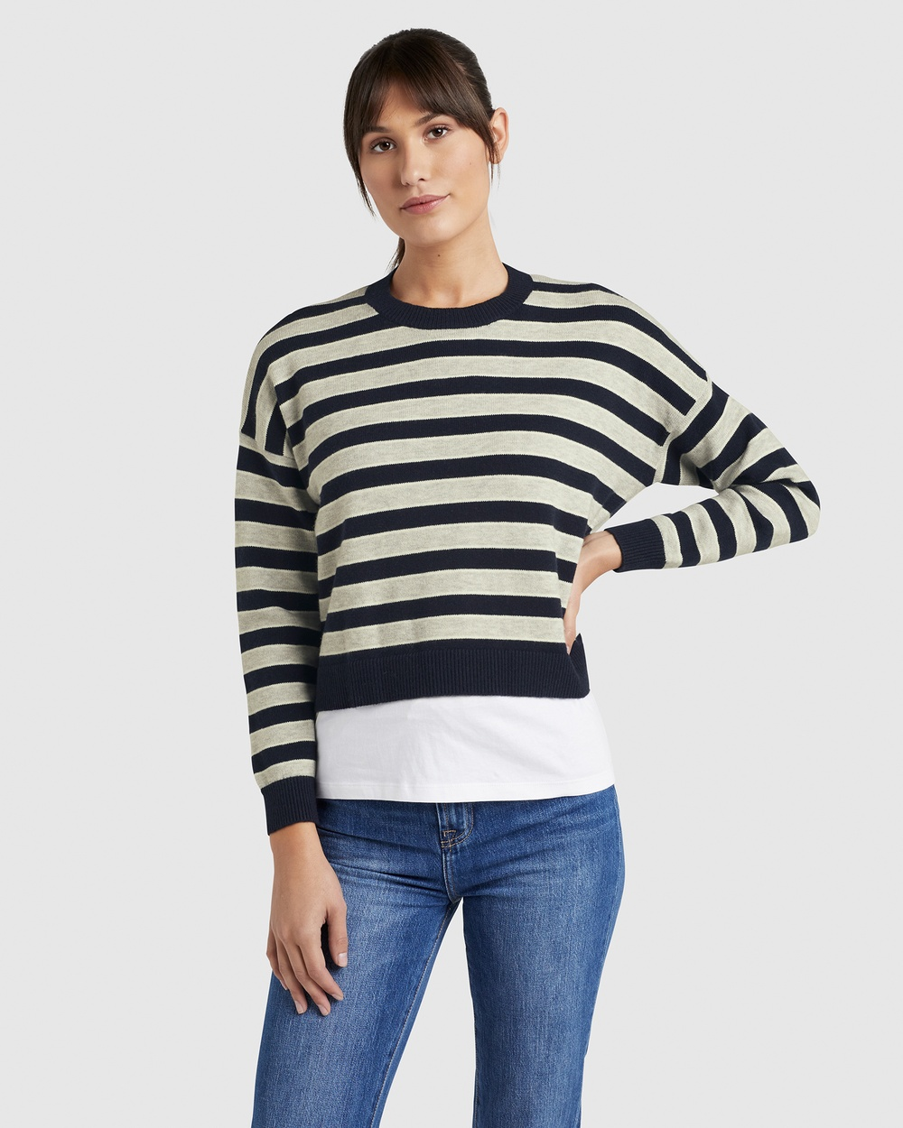 French Connection Stripe Boxy Knit Jumpers & Cardigans NAVY STRIPE Australia