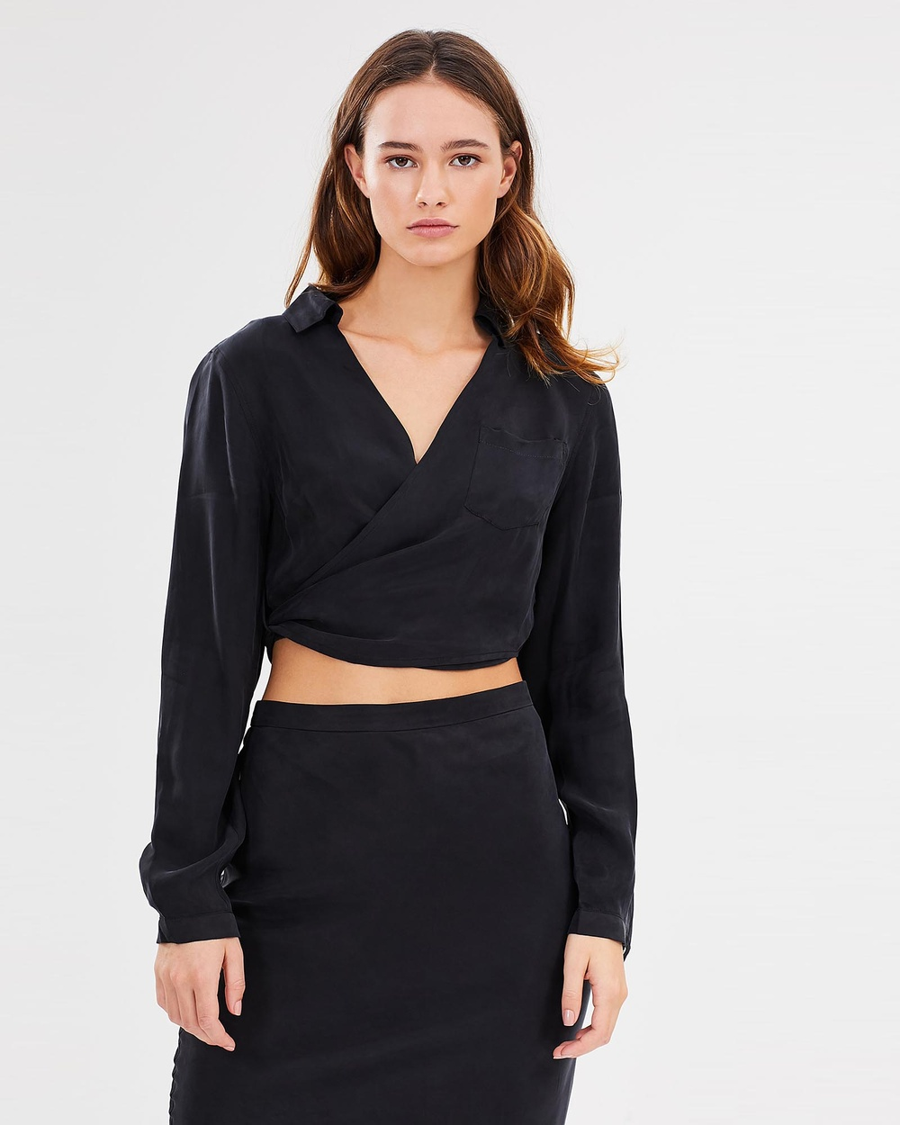 Third Form Essential Wrap Around Shirt Cropped tops Black Essential Wrap Around Shirt
