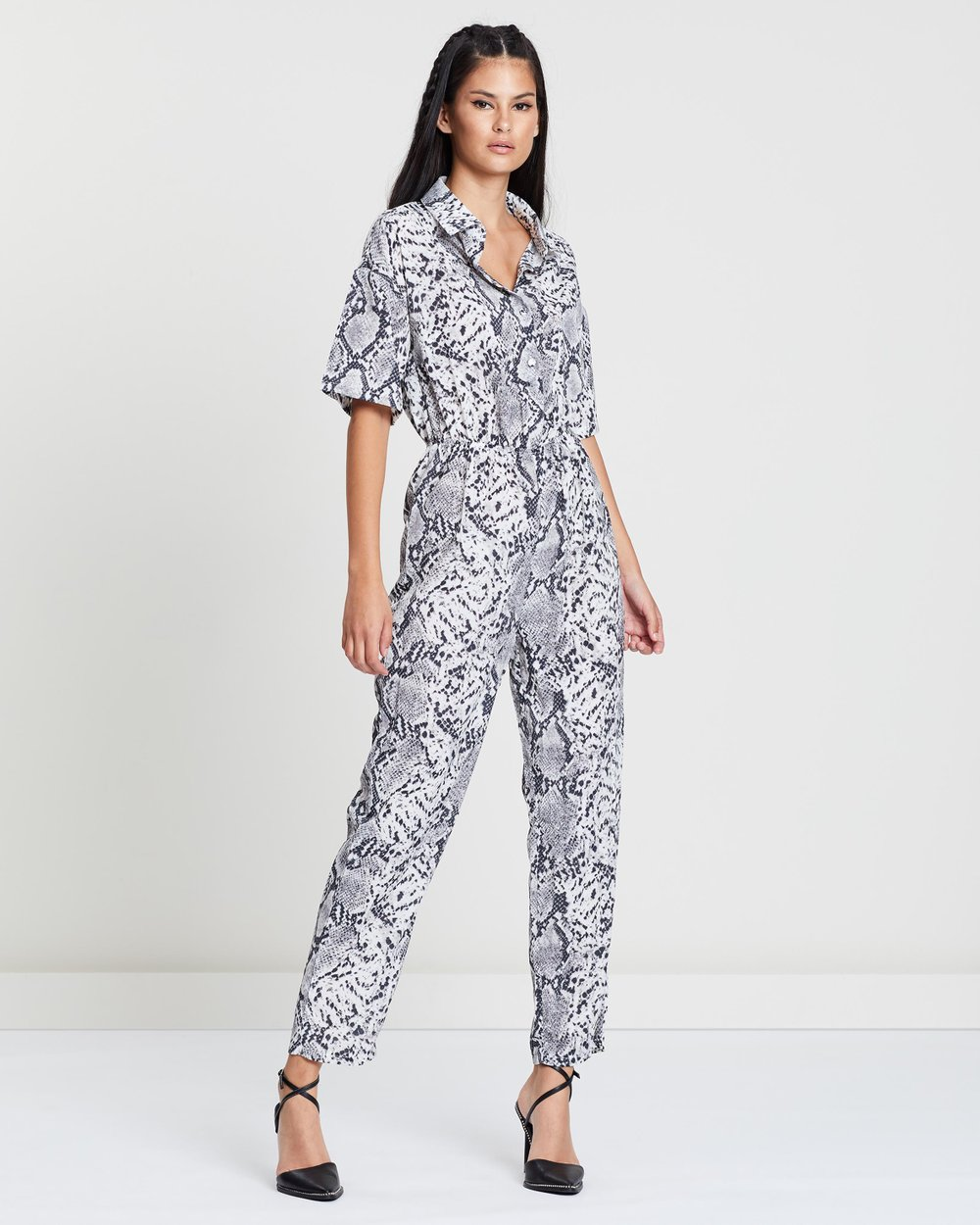 dd1126a8ff Snake Printed Shirt Jumpsuit by Missguided Online