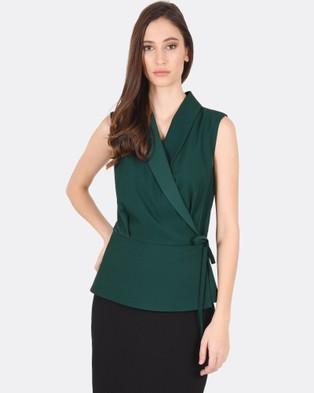 Forcast – Quinn Collared Sleeveless Top Green