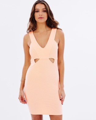 Lipsy – Ribbed Cut Out Body Con Dress – Bodycon Dresses (Nude)