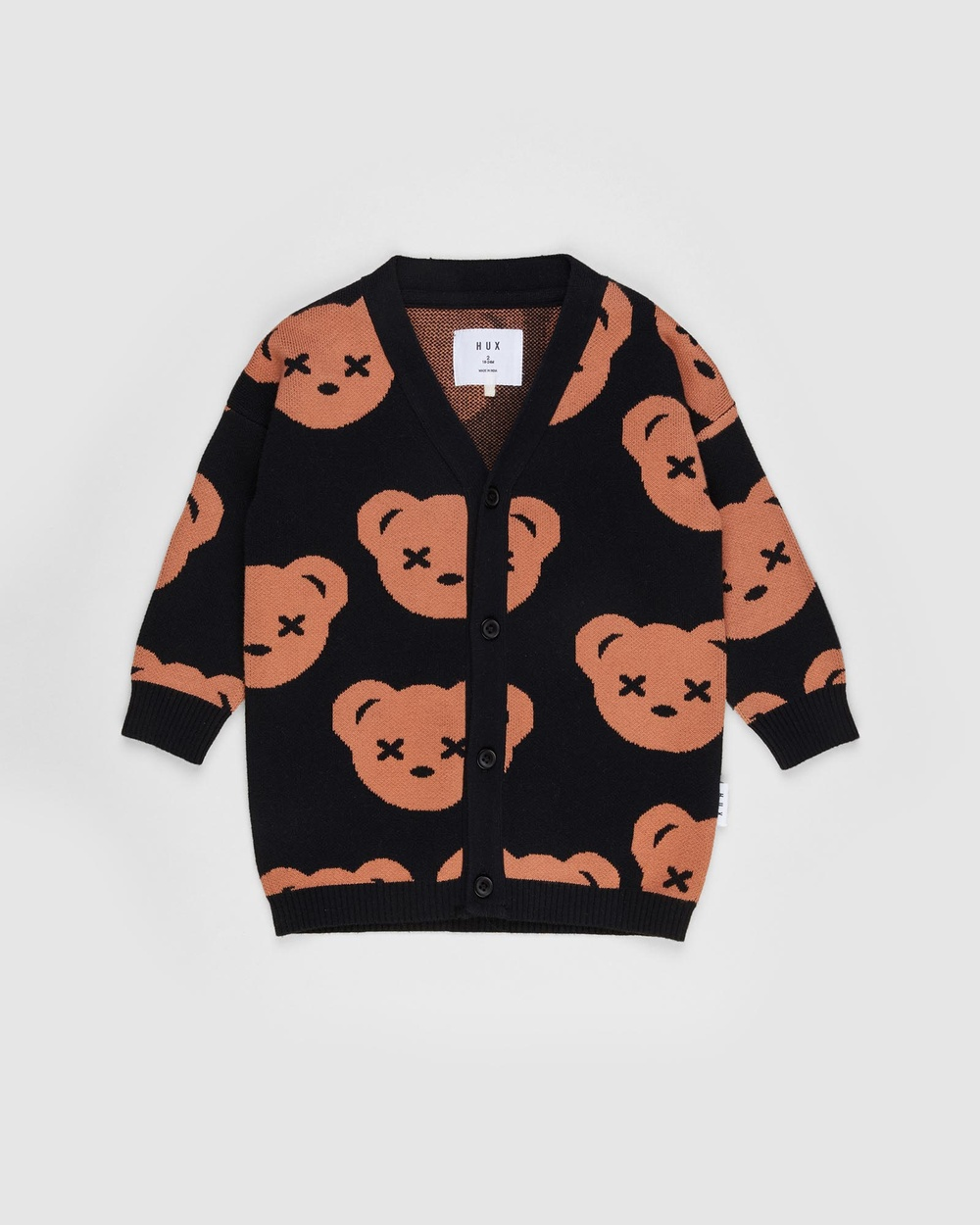 Huxbaby ICONIC EXCLUSIVE Knit Cardi Babies Kids Jumpers & Cardigans Black Babies-Kids