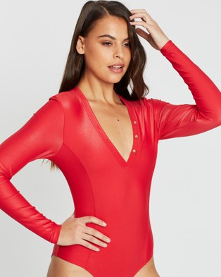 Duskii Cerise Sleek Long Sleeve One Piece - One-Piece / Swimsuit (Cherry)
