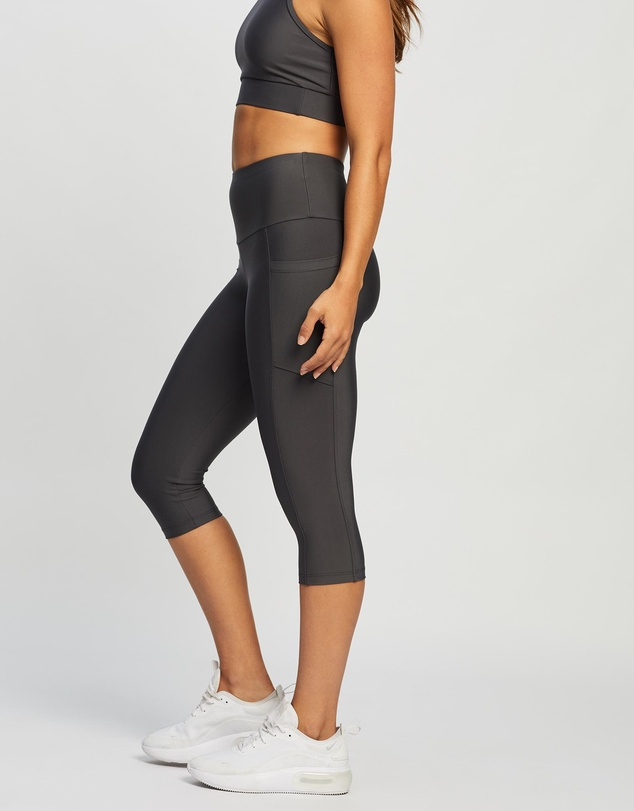 Women High Waisted Under Knee Tights with Pockets