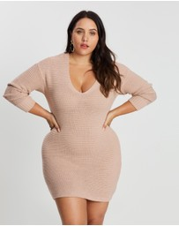 Missguided Curve - Knitted V-Neck Jumper Dress
