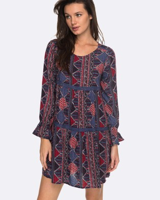 Roxy – Womens Sweetness Seas Printed Long Sleeved Dress – Swimwear ANTHRACITE SPS 9071