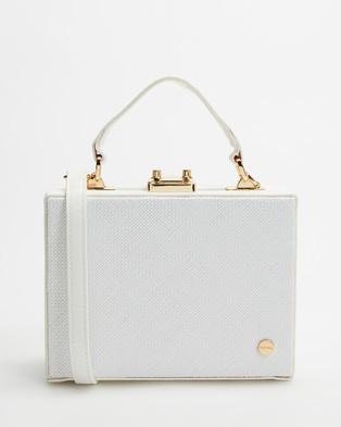 Olga Berg Georgia Straw Weave Top Handle Bag - Handbags (White)