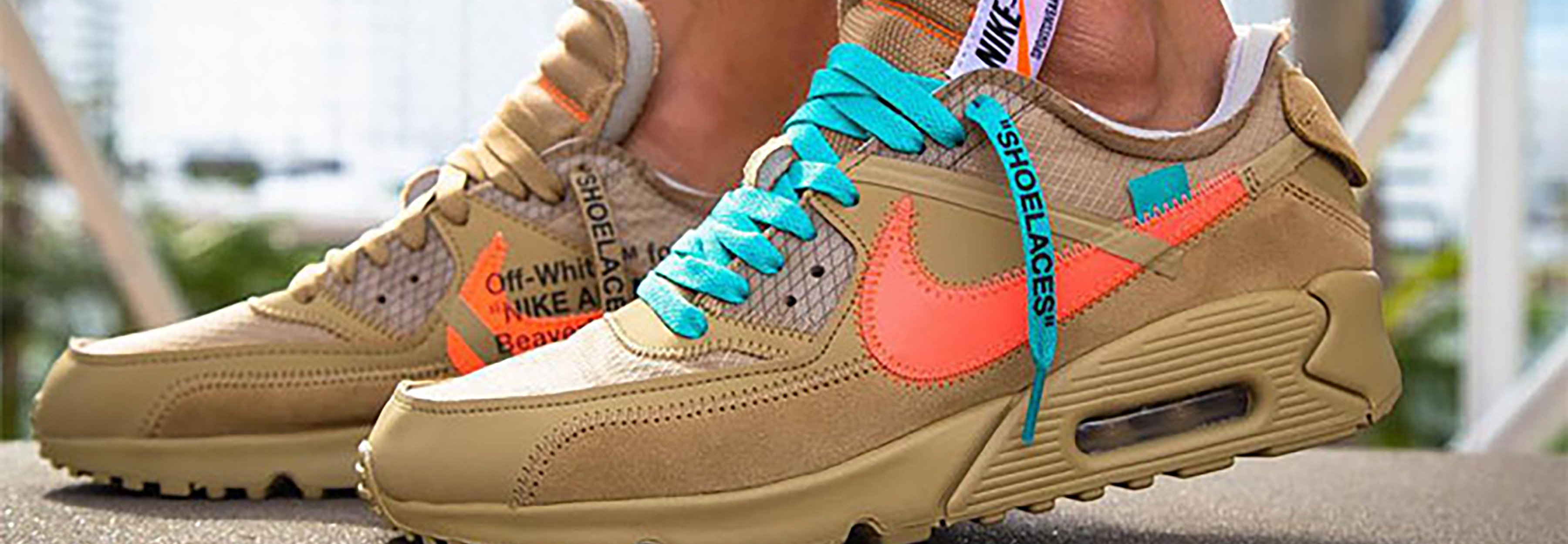best loved b88df fe35b The Off-White x Nike Air Max 90  Desert Ore  Gets On-Foot Shots THE ICONIC  Edition