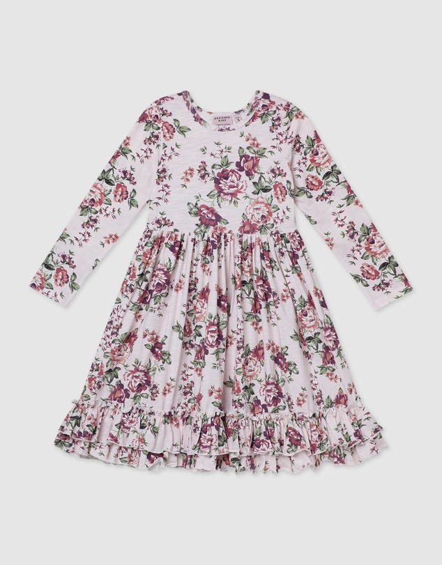 Designer Kidz - Pearl Floral LS Swing Dress
