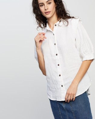 Ceres Life Linen Puff Sleeve Shirt - Tops (White)