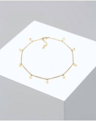 Elli Jewelry Necklace Women Choker Chain Star Astro Look Basic 925 Sterling Silver Gold Plated