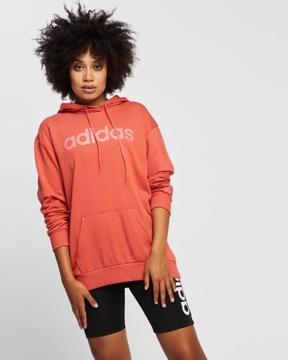 adidas Performance Essentials Oversize Logo Hoodie Jumpers & Cardigans Crew Red Hazy Rose
