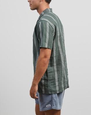 Stussy Stripe Linen Shirt - Casual shirts (Deep Sea)