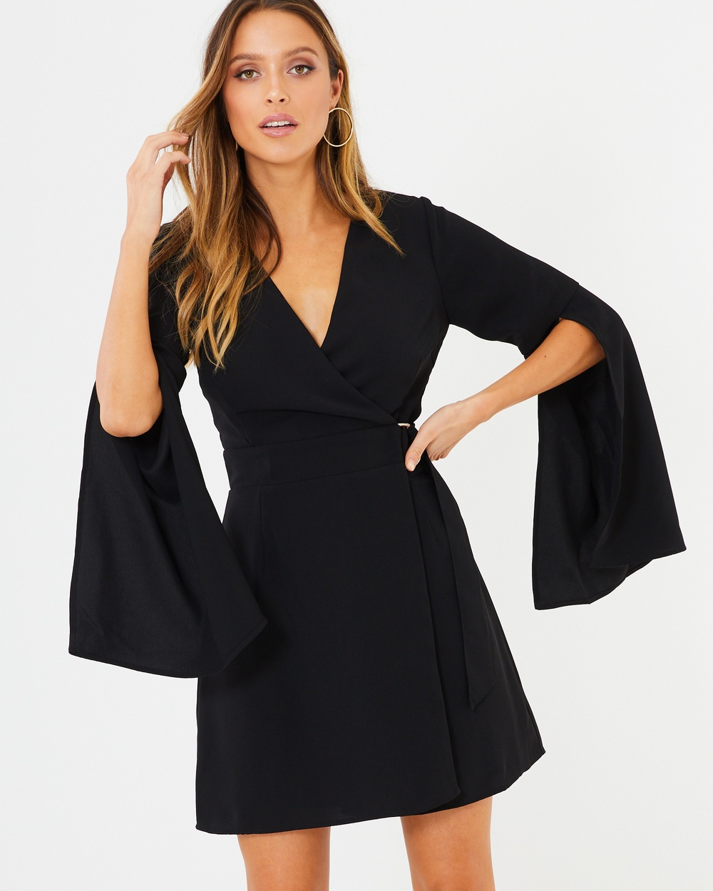 Tussah Black Greta Wrap Dress