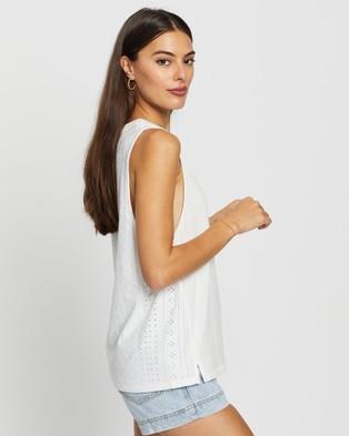 DRICOPER DENIM - Minimal Broderie Tank T-Shirts & Singlets (White )