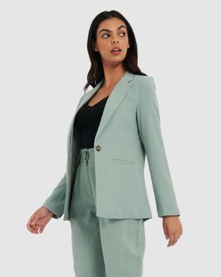 Forcast Mia Single Button Blazer - Suits & Blazers (Sea Sage)